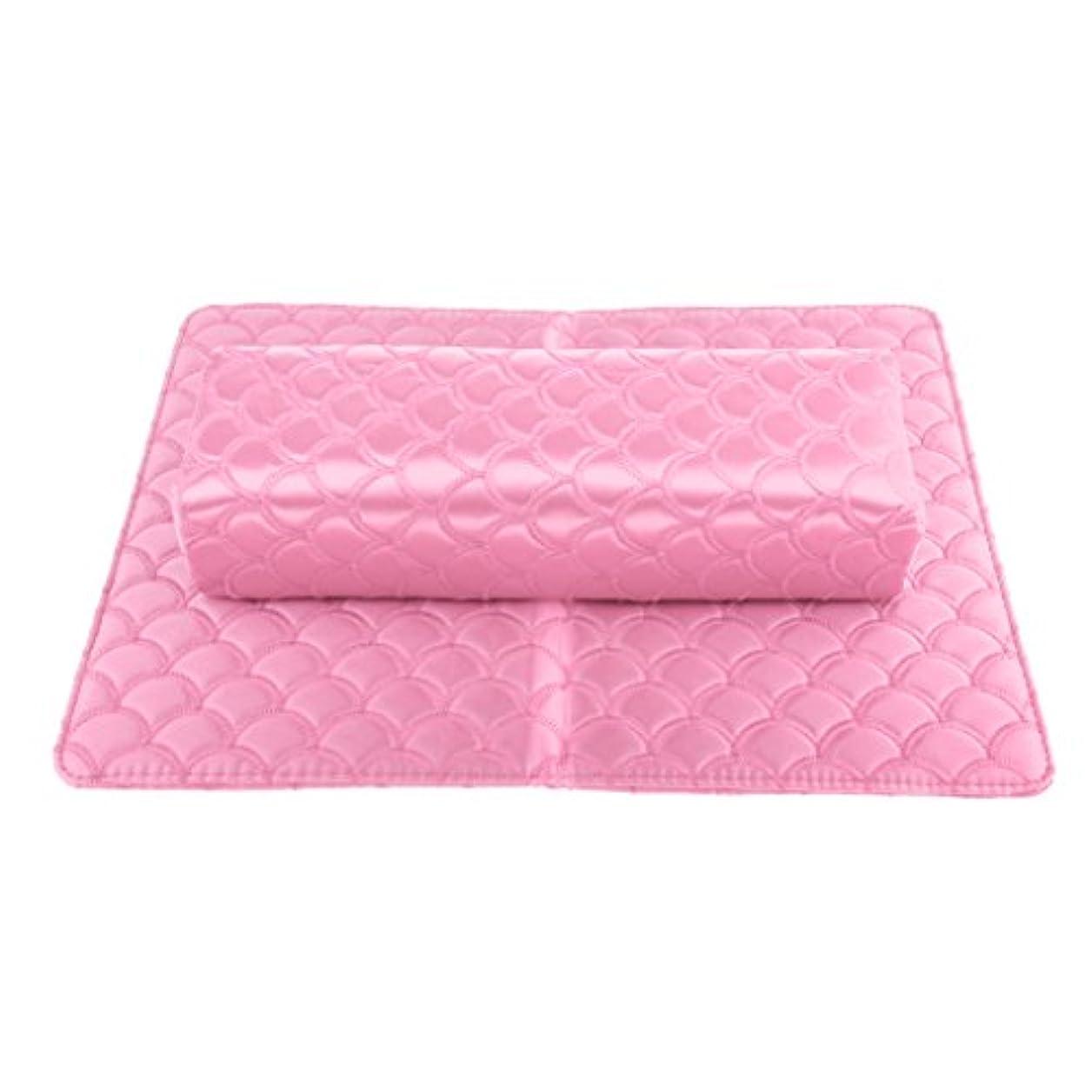 顕著ずらすスポーツマンネイルピローパッド ネイルアート ハンドピロー パッド ソフト ハンドクッション マニキュア アームレストホルダー 多色選べる - ピンク