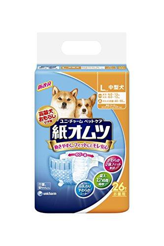 ユニ・チャームペットケア ペット用紙オムツ Lサイズ 中型犬 26枚入