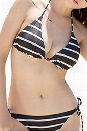 (Willing)水着レディースボーダービキニセクシー体型カバー海水浴バストモノトーン大きいサイズバンドゥ三角柄ホワイトブラックSML(05:タイプBブラックM)