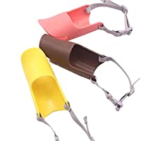 3ピース犬の口のカバー - ペットシリコンアヒルの口の形のカバーアンチバイトアンチコールと呼ばれるソフト快適な調節可能なアヒルの口の口輪(ブラウン、ピンク、イエロー),S