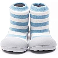 Attipas Herb Organic Baby Walker Shoes, Blue Border, Small