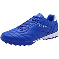 Yong Ding Men Soccer Shoes Leather Upper Lightweight Low Top Athletic Trainers with Non Slip Sole for Running and Football