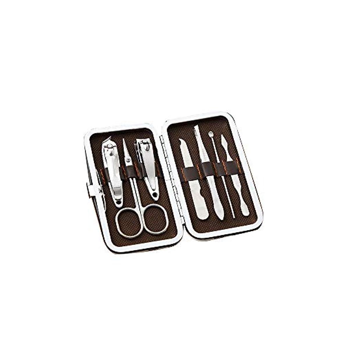 連結する調停者やさしく美容ネイルツールセットステンレス爪切りセット携帯便利爪切りセットコーヒーグリッド、7点セット