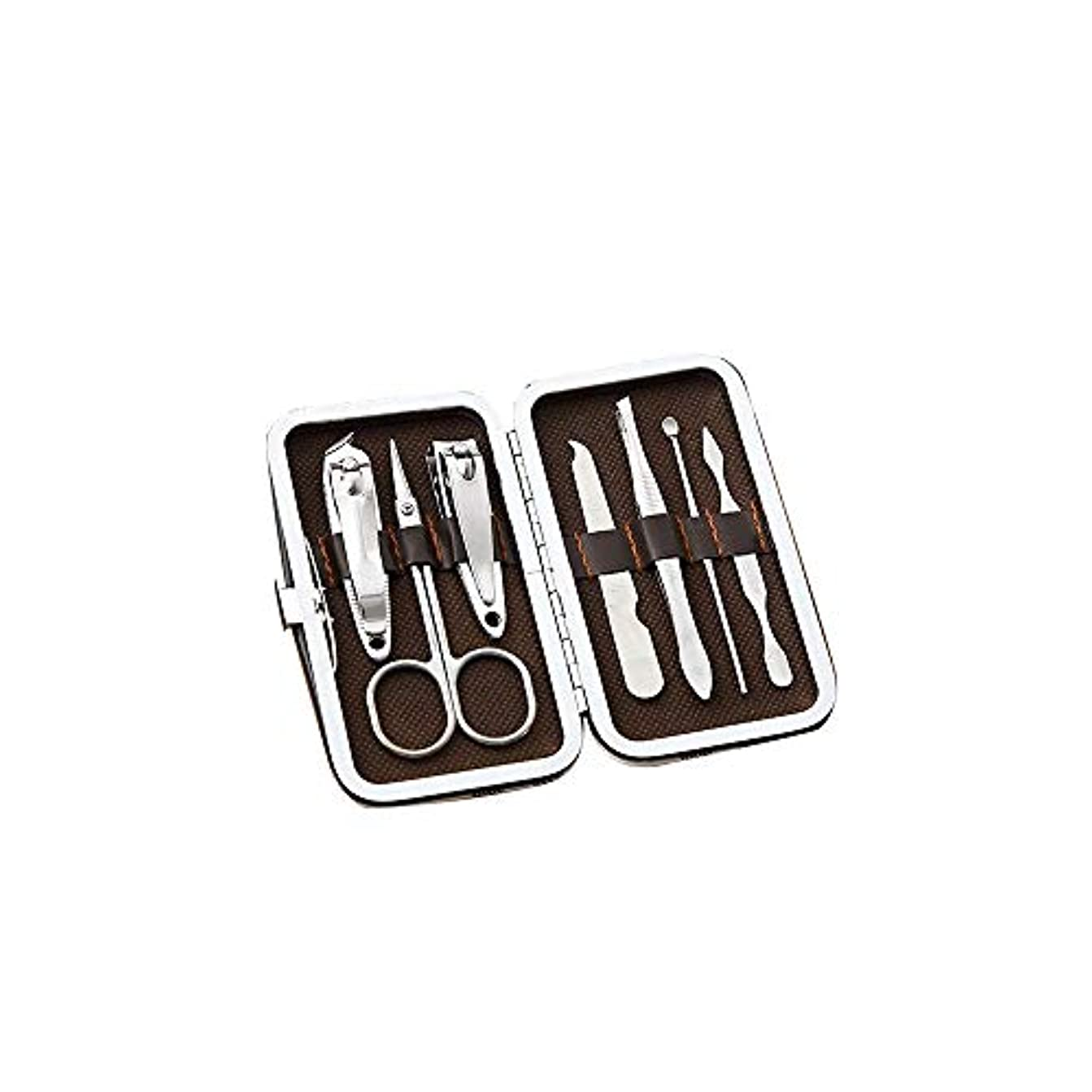 電圧東方突破口美容ネイルツールセットステンレス爪切りセット携帯便利爪切りセットコーヒーグリッド、7点セット