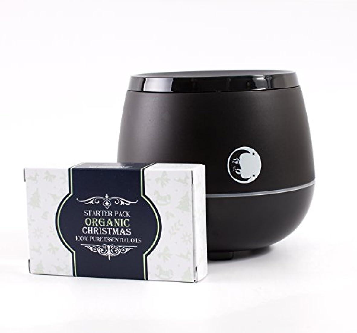 捕虜電圧致命的Mystic Moments | Black Aromatherapy Oil Ultrasonic Diffuser With Bluetooth Speaker & LED Lights + Organic Christmas Essential Oil Gift Starter Pack