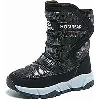 [ホビベアー] スノーブーツ キッズ ジュニア ウインターブーツ スノーシューズ 防寒靴 雪靴 冬用