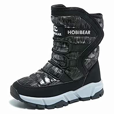 [ホビベアー] スノーブーツ キッズ ジュニア ウインターブーツ スノーシューズ 防寒靴 雪靴 冬用(ブラック02 24)