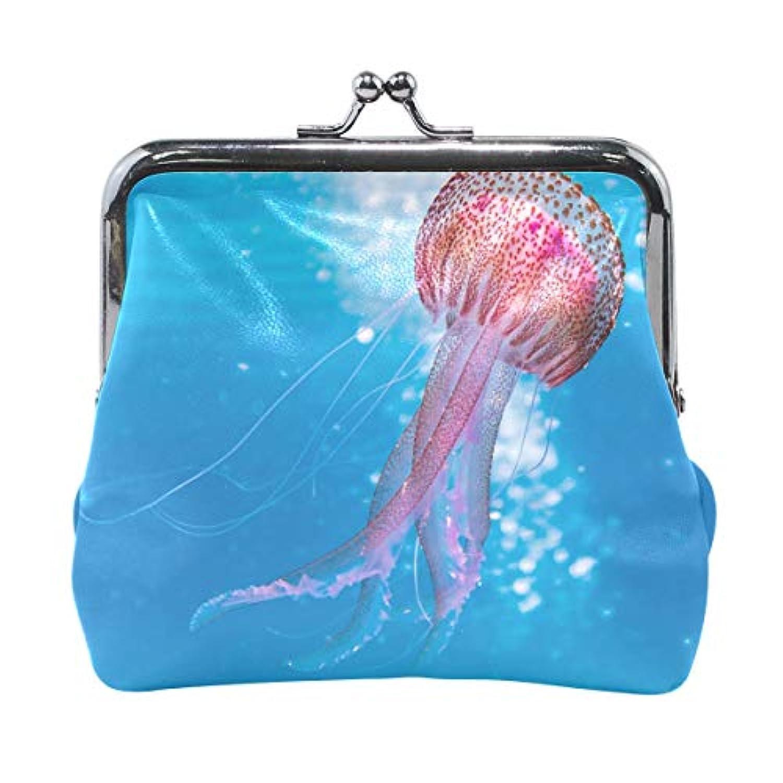 がま口 財布 口金 小銭入れ ポーチ クラゲ 海 Jiemeil バッグ かわいい 高級レザー レディース プレゼント ほど良いサイズ