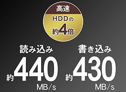 『I-O DATA ポータブルSSD 960GB 小型 USB3.1(Gen1) 耐衝撃 Mac PS4 バスパワー対応 SSPH-UA960NV/E』の2枚目の画像