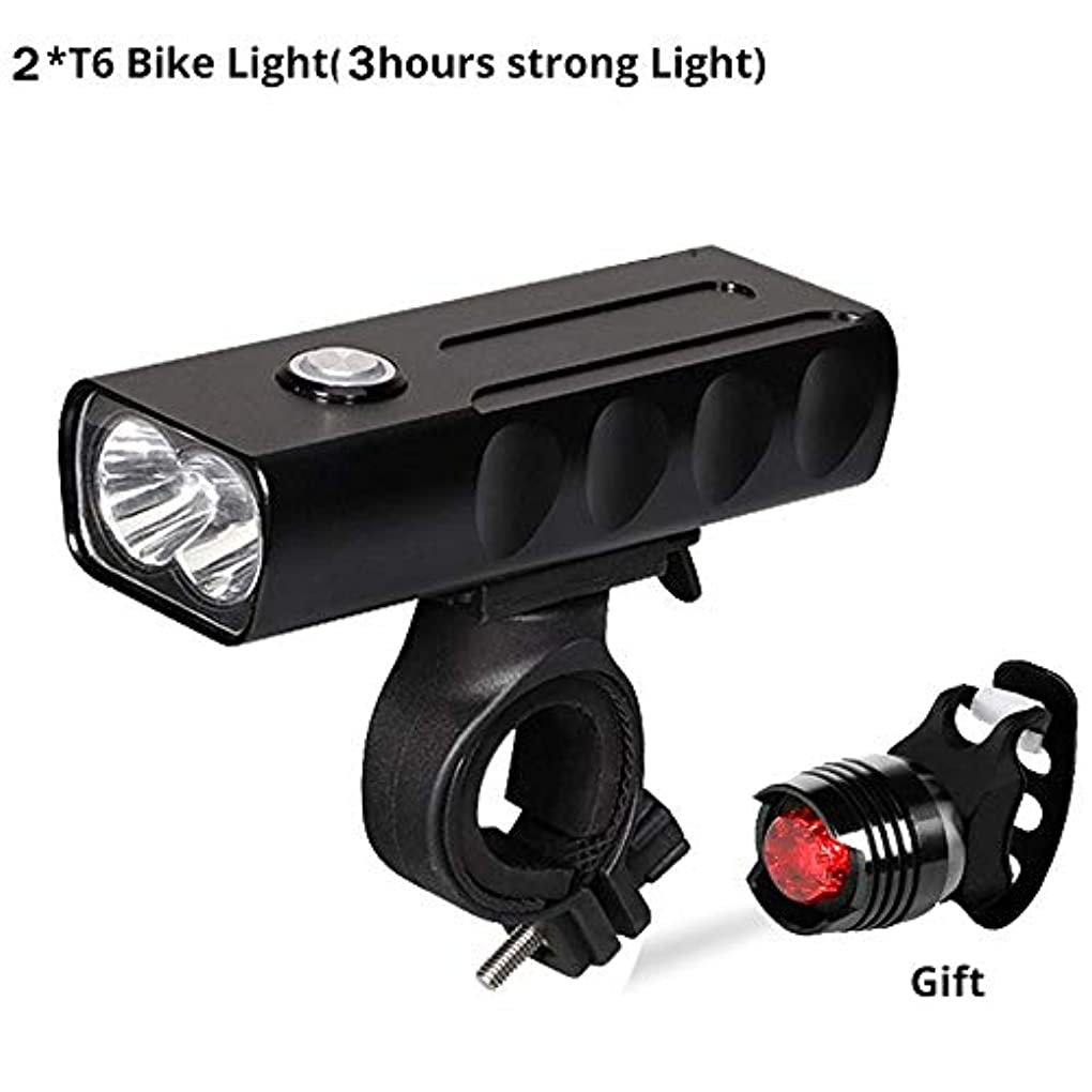アライメント不適当シリンダーUSB充電式自転車ライト 新しい自転車のライトフロントとバック、USB充電式スーパーブライト800ルーメン2 LEDマウンテン/ロード自転車用ヘッドライトランプ無料テールライトセット、サイクリングセーフティ懐中電灯、簡単インストール (Color : T6-3 hour)