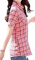 gawaga レディース半袖オフィスボタンダウンスリムコットンチェックシャツ 3 L