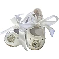 [Cleo4Babies]Cleo4Babies White Satin Rhinestone Infant Baby Christening Baptism Shoes Wedding Party Flower Shoes [並行輸入品]