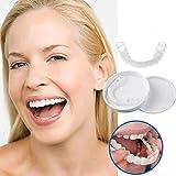ベニアの歯の1ペア、化粧品の歯 - 一時的な笑顔と快適なフィット柔らかい化粧品の歯、すべてが最もフィットし、快適な上下のベニヤ - 歯のベニア(下+上)