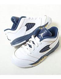 【11cm-16cm】NIKE AIR JORDAN 5 RETRO LOW TD ナイキ エアジョーダン 5 レトロ ロー ホワイト×ネイビー キッズ 子供靴 スニーカー 314340-135