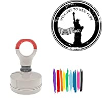 Welcome To New York Statue Of Liberty Round Badge Style Pre-Inked Stamp, Yellow Ink Included