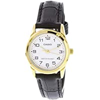 Casio Women's LTPV001GL-7B Black Leather Quartz Watch