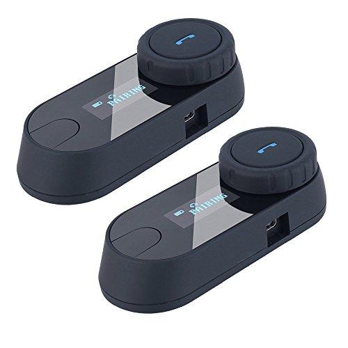 Freedconn バイク用 インカム ヘルメットに装着 Bluetooth 防水 インターコム 800MLCDスクリーン付き 2人同時通話 3Riders 2台セット 日本語説明書付属