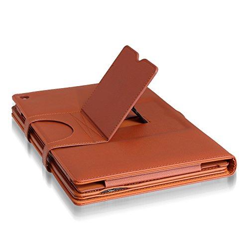 SonyXperia Z2 Tablet SOT21 SO-05Fワイヤレスキーボード付 スタンドケース カバースタンド機能 (Xperia Tablet Z2, ブラウン)