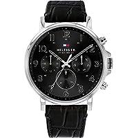 Bevilles Tommy Hilfiger Men's Daniel Multi-function Black Leather Watch Model 1710381 Leather,Stainless Steel 3 Hands,Date & Day,Multifunction,Splashproof 7613272310215