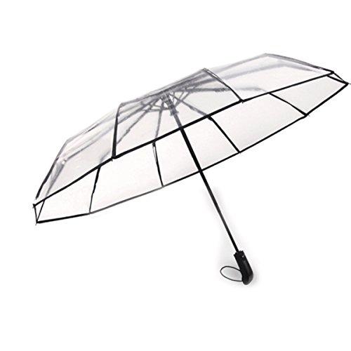KUKUYA(ククヤ) 三段折りたたみ傘 透明な傘 ビニール 梅雨対策 自動開閉 10本骨 大きい 耐風撥水 おしゃれ ビジネス メンズ レディース