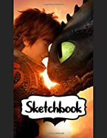 """Sketchbook: How To Train Your Dragon Cute Toothless Night & Light Fury And Hiccup Astrid Couple The Viking Village, Doodling or Sketching: 110 Pages, 8.5"""" x 11"""". Kraft Cover Sketchbook ( Supplies Student Teacher Daily Creative Writing )"""