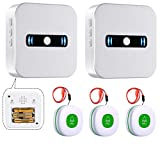 Caregiver Pagers Wireless Emergency Panic Call Button for Elderly Senior Patient Personal Alert Alarm Nurse Call Button for Home Safety Alert System 2 Portable Receiver+3 Necklace Call Buttons