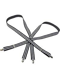 (大きいサイズ最大150cm調節可能)サスペンダー2ライン ブラックホワイト(幅3cm)(日本製)