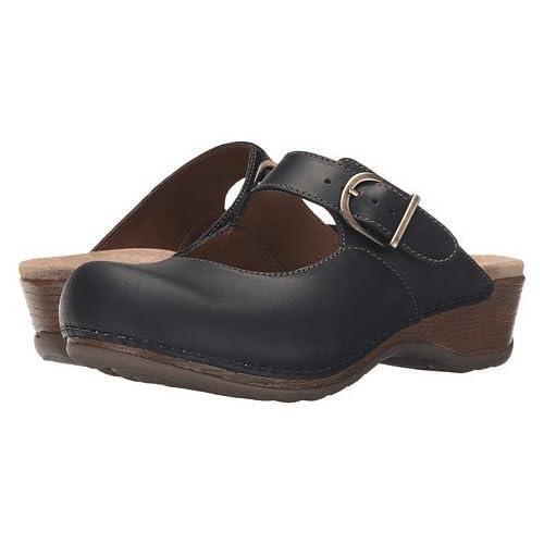 (ダンスコ)Dansko レディースクロッグズ・ミュール・スライド・靴 Martina Black Oiled US Women's 7.5-8 24-24.5cm Regular [並行輸入品]