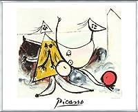 ポスター パブロ ピカソ Femme sur la Plage Jouant au Balloon 限定2000枚 額装品 アルミ製ベーシックフレーム(シルバー)