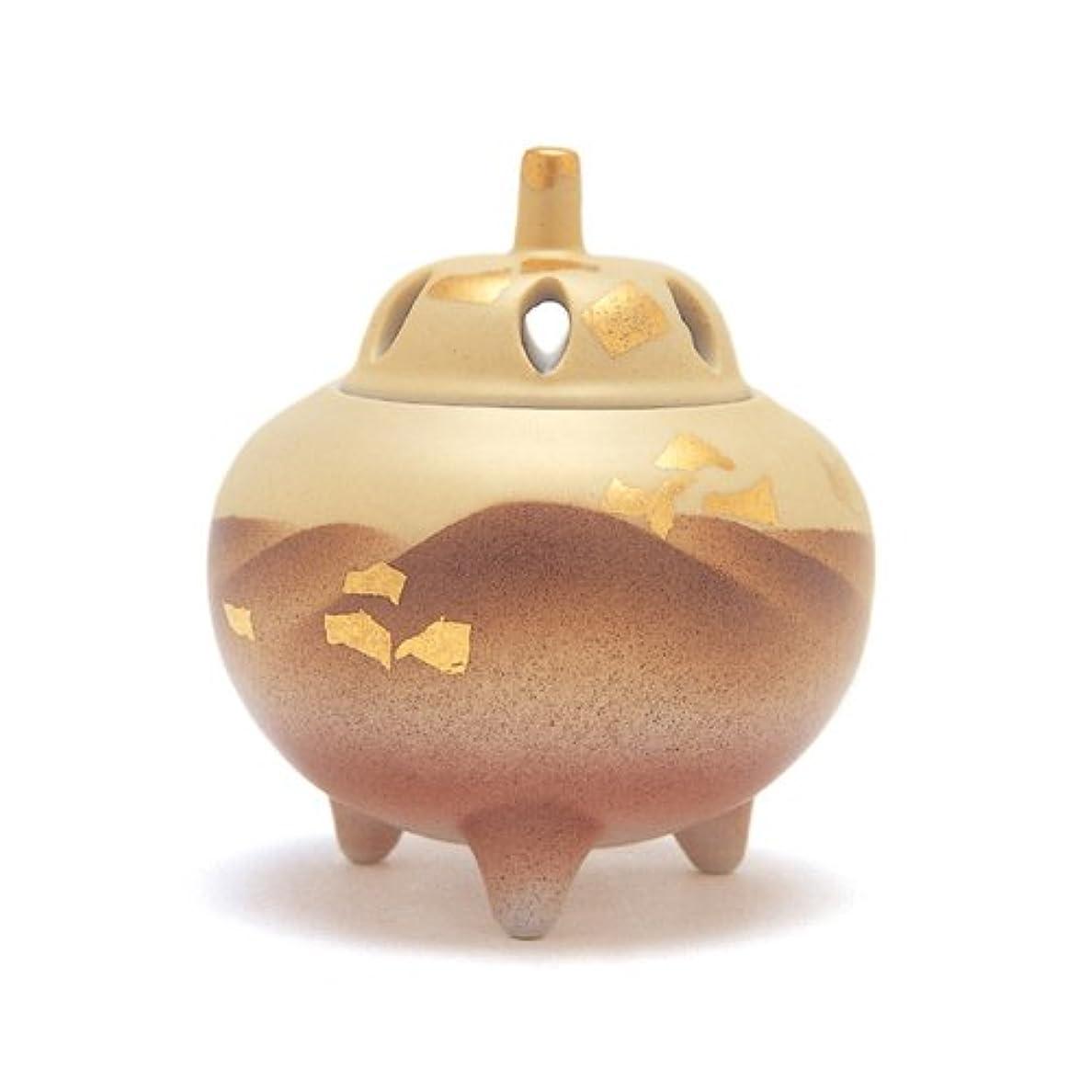 調和のとれたつぶす囲い香炉 2.5号 金彩連山 花九谷 作