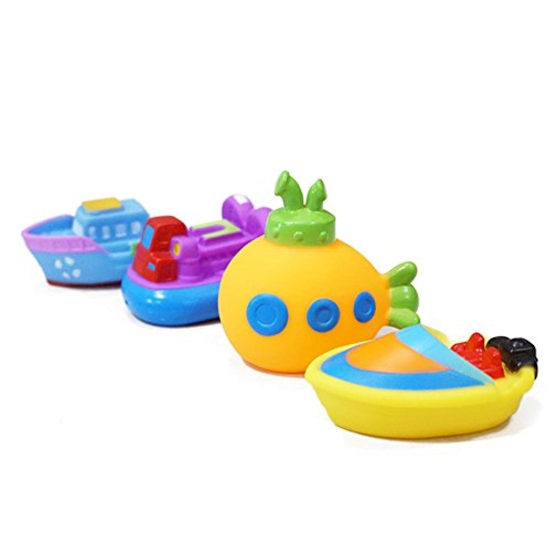 Liebeye 入浴のおもちゃ 赤ちゃんのため 柔らかいプラスチックの船尾船ボート潜水艦の蒸気船の子供のため 水のおもちゃ クリスマスギフト贈り物 4本
