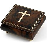 ゴージャスな手作り自然ウッドトーンMusical Jewelry Box with Holy Cross Inlay 335. Send in the Clowns ゴールド MBA18CROSSNO