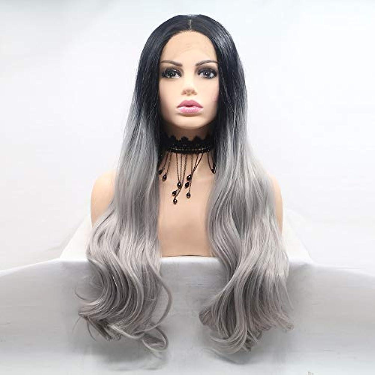 ディベート痴漢食べるZXF かつら女性手作りレースヨーロッパとアメリカのかつらはかつらの髪のセット - 黒 - リネングレー - 長い巻き毛のセット 美しい
