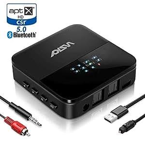WSKY Bluetooth 5.0 トランスミッター レシーバー 一台二役 受信機 送信機 オーディオ アダプタ aptX HD aptX LL 対応 高音質 低遅延 光デジタル RCA AUX SPDIF接続 22時間連続作動