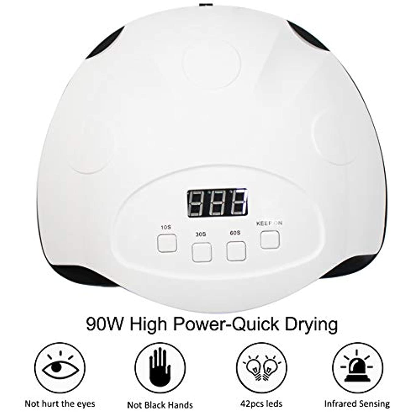 プロペラ夢中終わらせるすべてのゲルのための90W UVランプ、LEDネイルランプネイルドライヤー、ポリッシュ赤外線検出10/30 / 60Sマニキュアスマートタイマー
