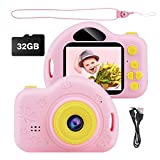 Kids Camera, Digital Video Camera Children Creative DIY Camcorder with Rechargeable Battery Birthday / Christmas / New Year Toy Gifts for 4 5 6 7 8 9 10 Year Old Girls with 32GB SD Card