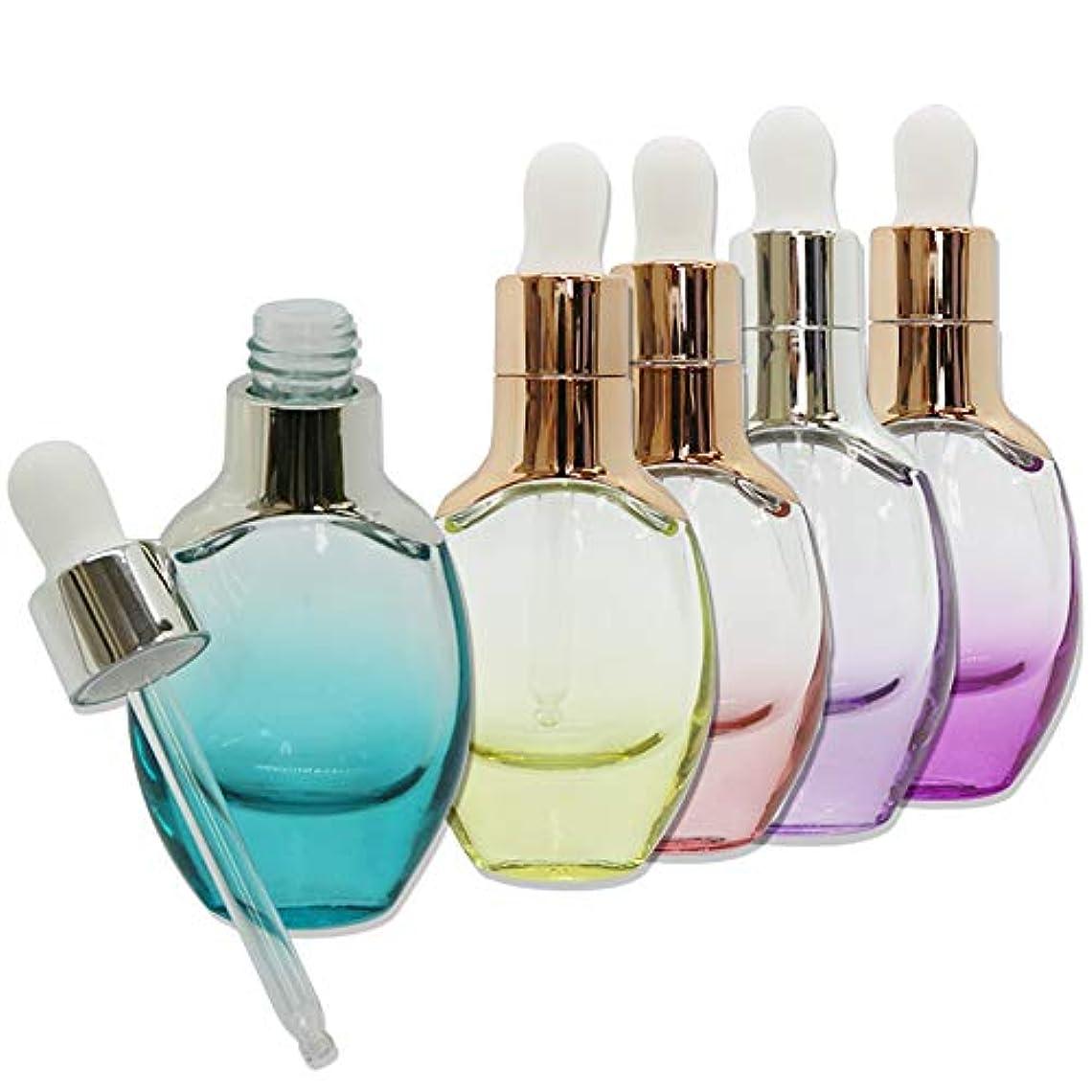 エレガント下手宣言kutsukage かわいい エッセンシャルボトル スポイト式 5本セット ガラス製 カラフル オイル 化粧品 オイル