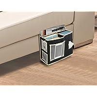 (1) - KOVOT Bedside Or Sofa Hanging Storage 6 Pocket Organiser - Black With Grey Trimmings (1)