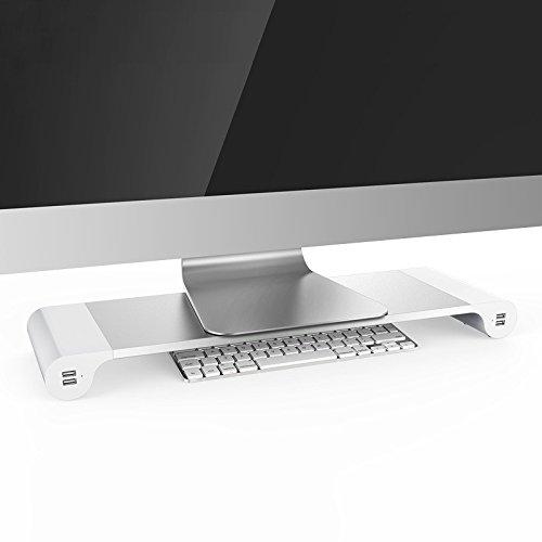 MATECH プレミアム アルミ モニター台 USB 4ポート付き パソコン 机上ラック 机上台 MTMTDK01
