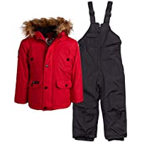 CANADA WEATHER GEAR Girls 2-Piece Snowsuit Set with Warm Puffer Jacket and Snowbib Pants (Infant/Toddler)
