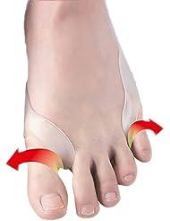 外反母趾用 サポーター 親指ゲルストレッチャー フットケア 矯正グッズ 足の痛み 固定帯 両足用 (フリーサイズ, ホワイト)
