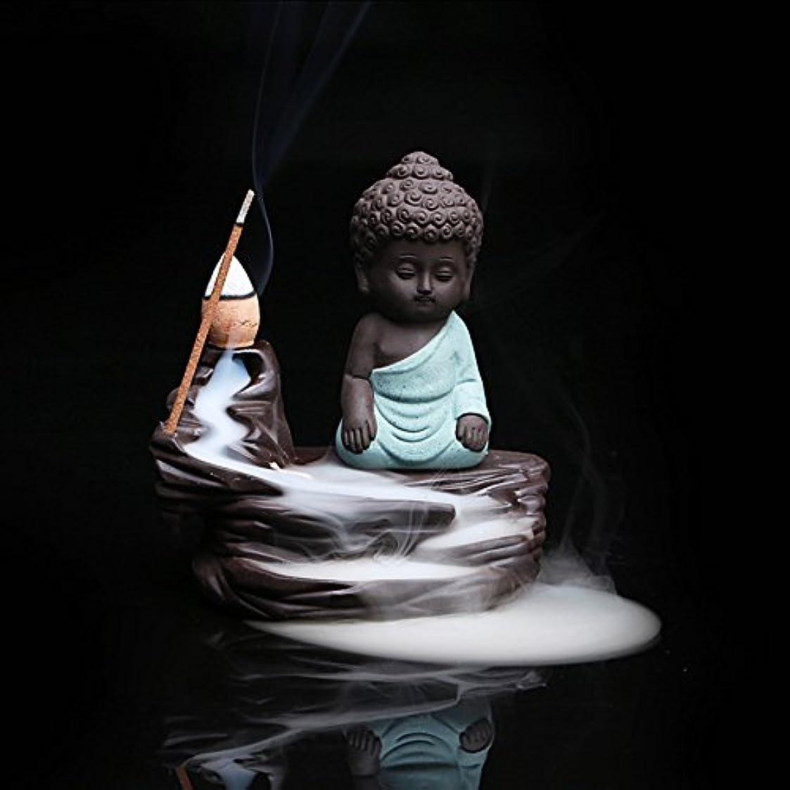規則性保有者アクセントOcamo クリエイティブセラミック香炉 逆流香炉 コーンスティックホルダー 小さな仏陀 ホームデコレーション用