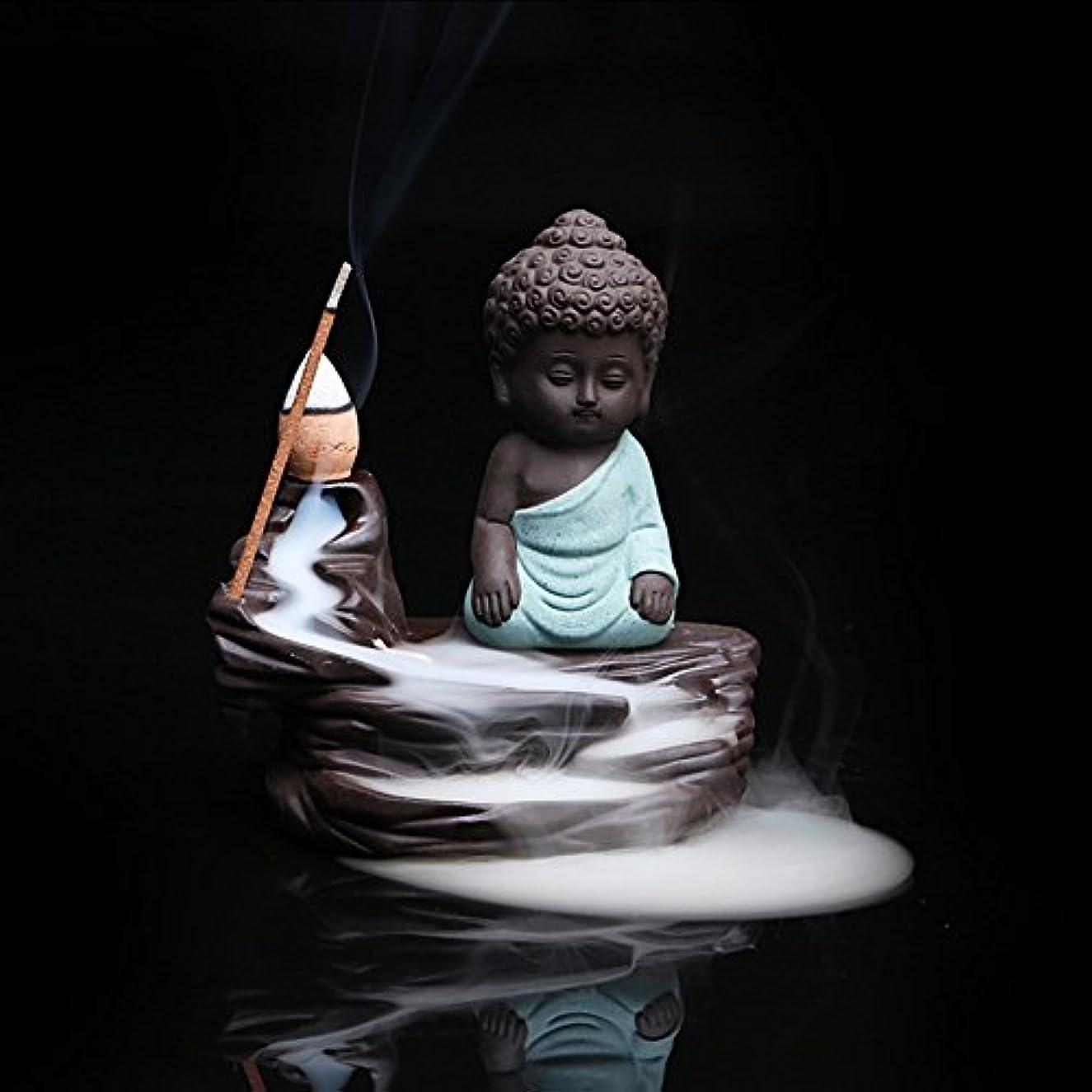 小川いたずらな窒素Ocamo クリエイティブセラミック香炉 逆流香炉 コーンスティックホルダー 小さな仏陀 ホームデコレーション用