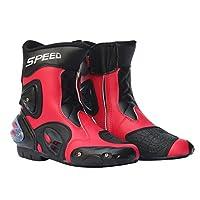 Baosity 全18種類 メンズ オートバイ靴 バイクブーツ 1ペア ファッション 格好良い - レッド, 41