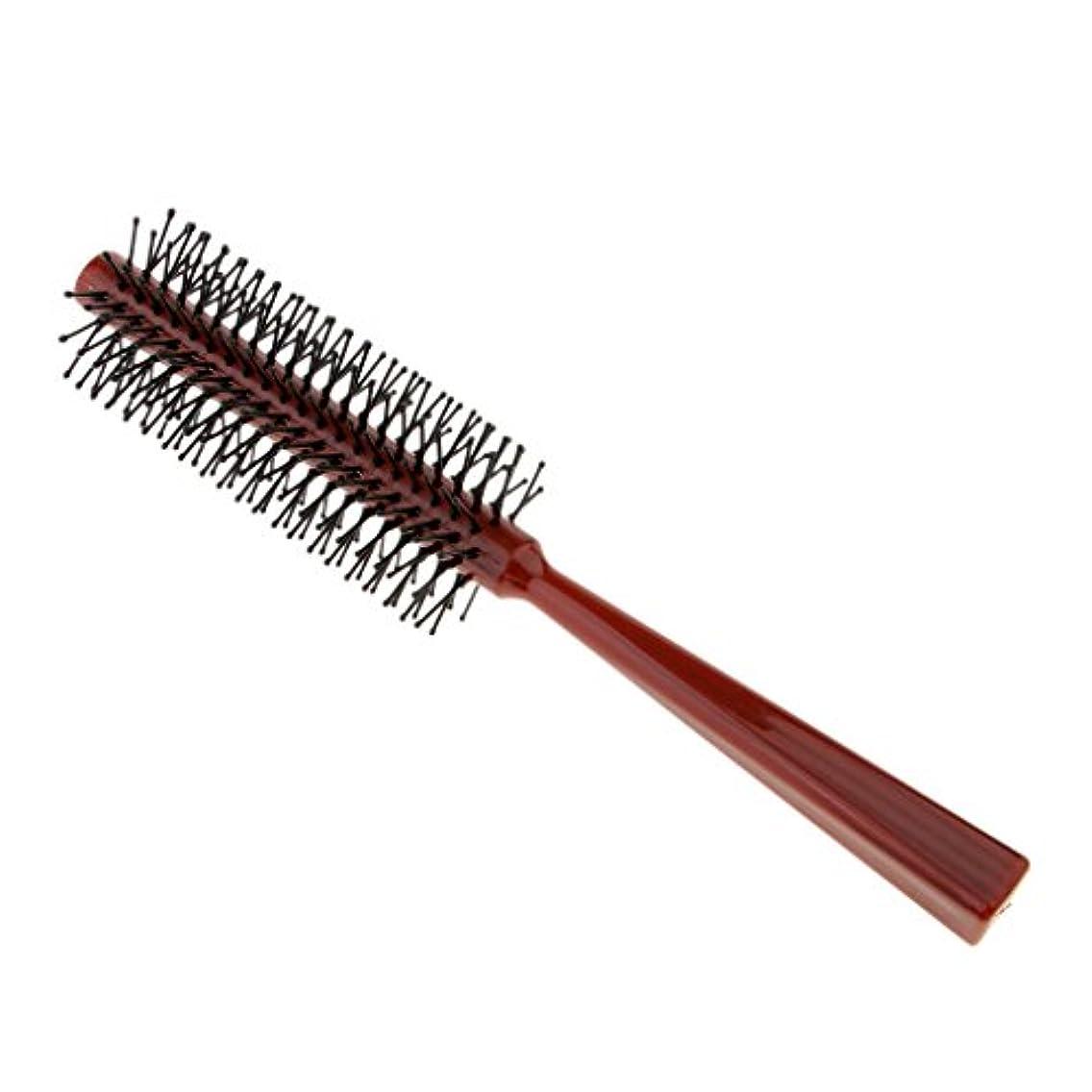 カフェ経済的運命ヘアブラシ ロール ロールブラシ プラスチック ヘアコーム 頭皮マッサージャー 全2色 - 赤