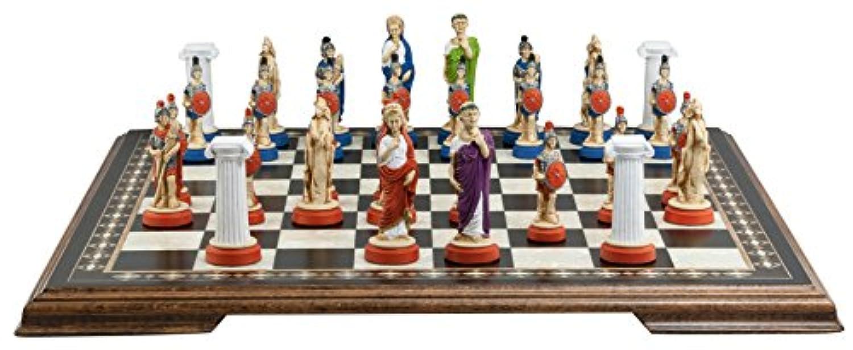 古代ローマチェスセット – 手作りとハンドペイント – 4インチ