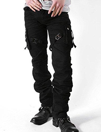 お兄系 カーゴパンツ メンズ【Low box(ローボックス)ベルトデザイン7ポケットカーゴパンツ】 ブラック79(M)
