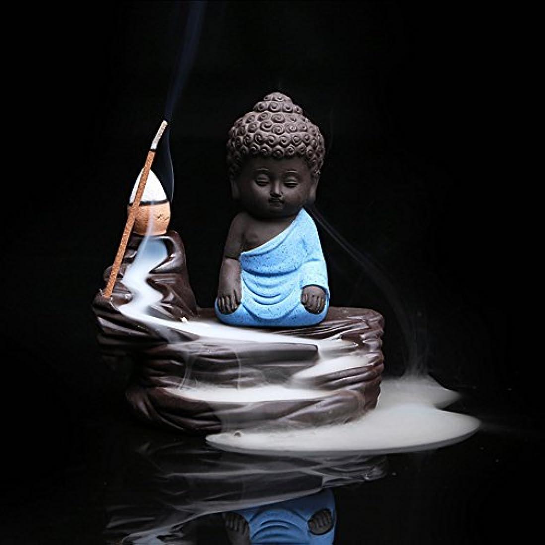 落ち着く一口マージZehuiホームデコレーションクリエイティブ逆流香炉コーンスティックホルダーSmall Buddhaセラミック香炉ホーム装飾 ブルー mhy-ZJ1204-jj125