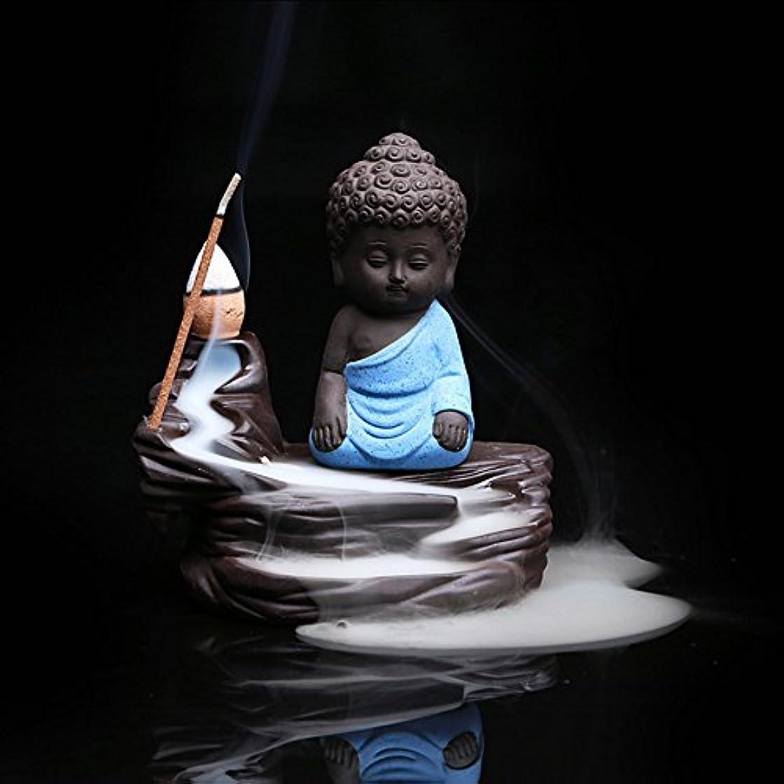 接続詞会話型極貧Zehuiホームデコレーションクリエイティブ逆流香炉コーンスティックホルダーSmall Buddhaセラミック香炉ホーム装飾 ブルー mhy-ZJ1204-jj125