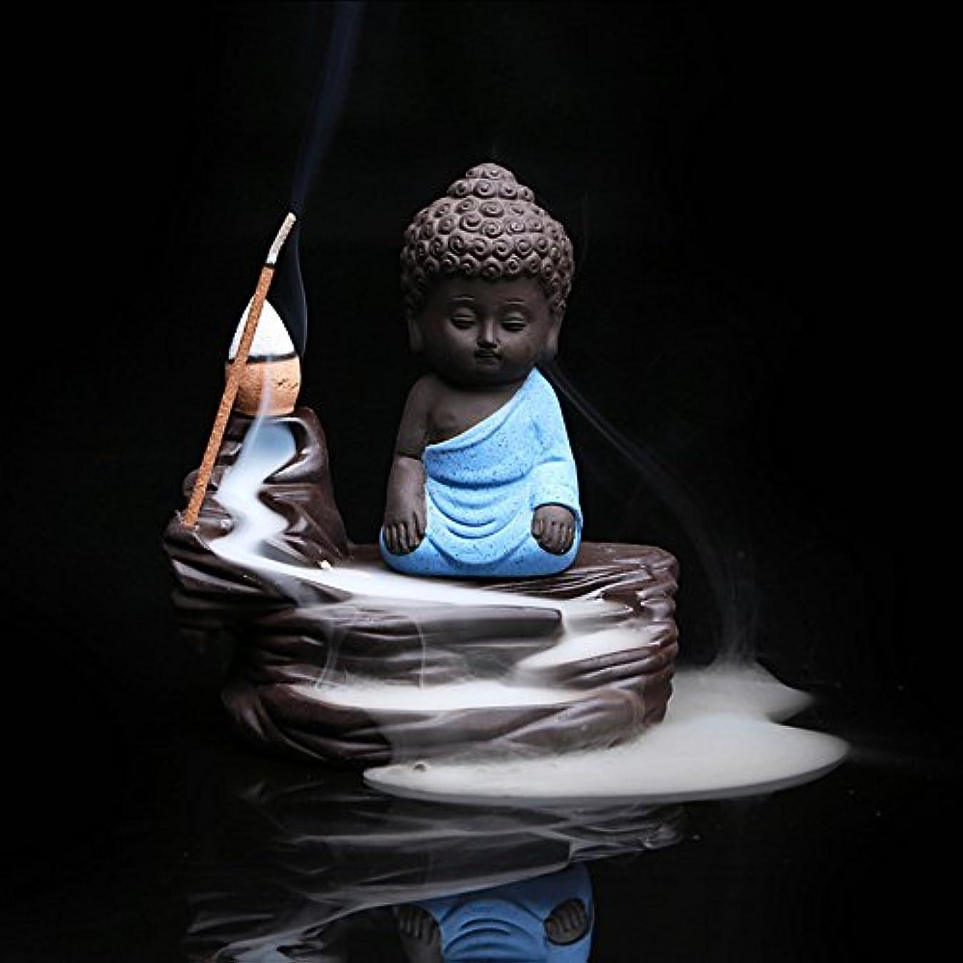レイア香り飛躍Zehuiホームデコレーションクリエイティブ逆流香炉コーンスティックホルダーSmall Buddhaセラミック香炉ホーム装飾 ブルー mhy-ZJ1204-jj125